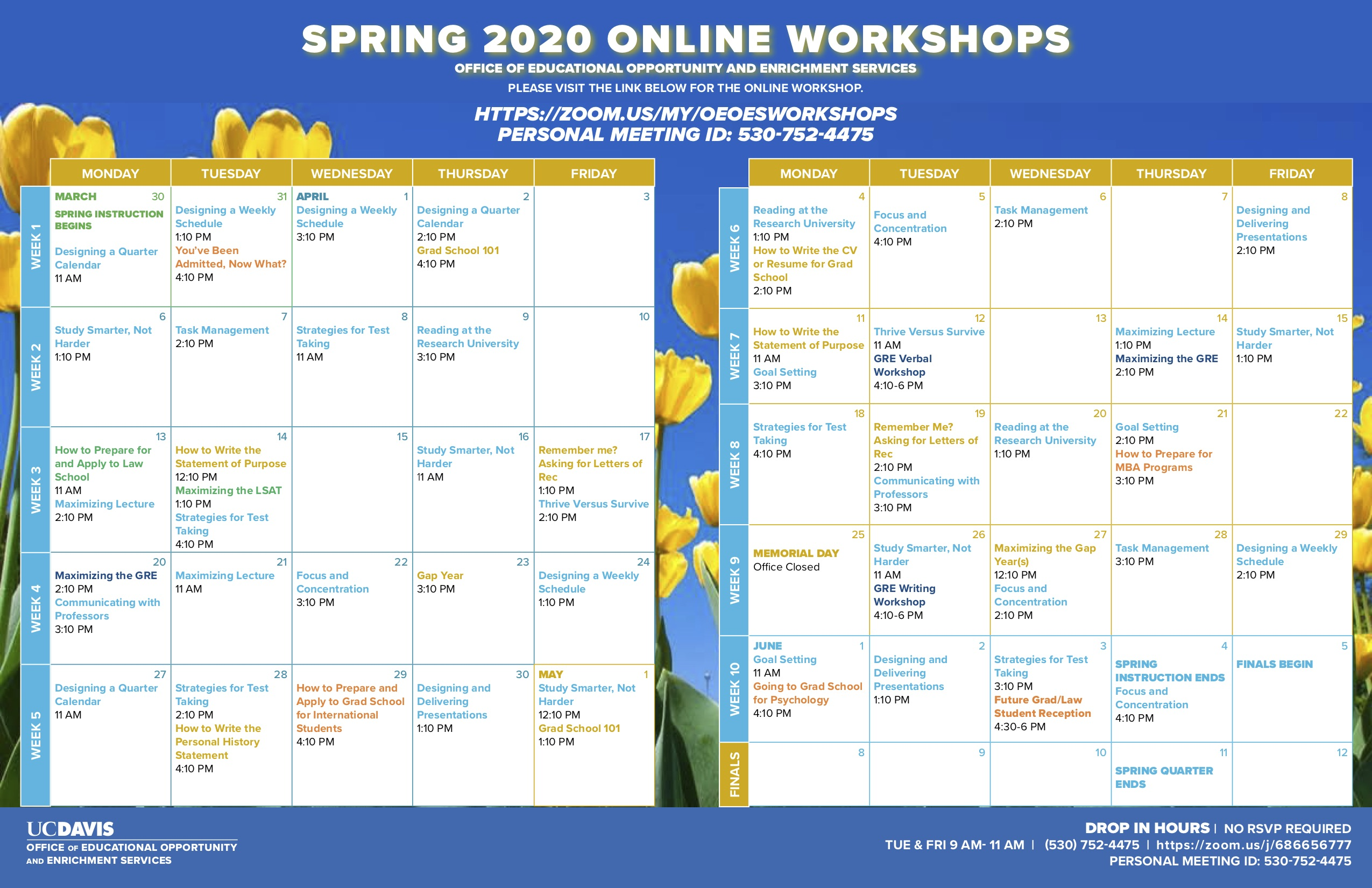 picture of OEOES workshop calendar